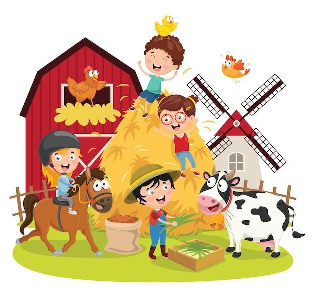 Ilustração em vetor de crianças de fazenda
