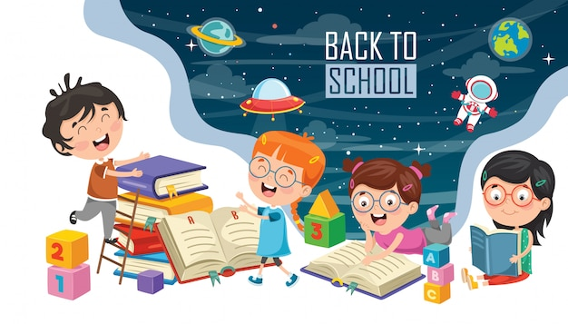 Ilustração em vetor de crianças de volta à escola