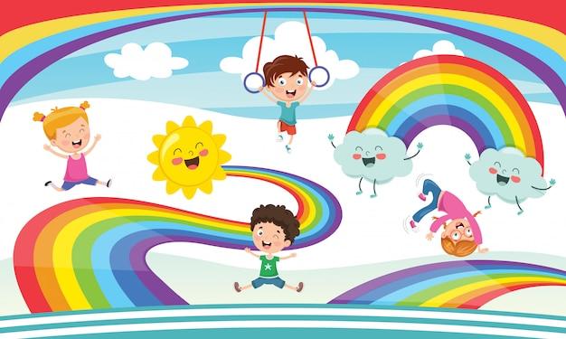 Ilustração em vetor de crianças do arco-íris