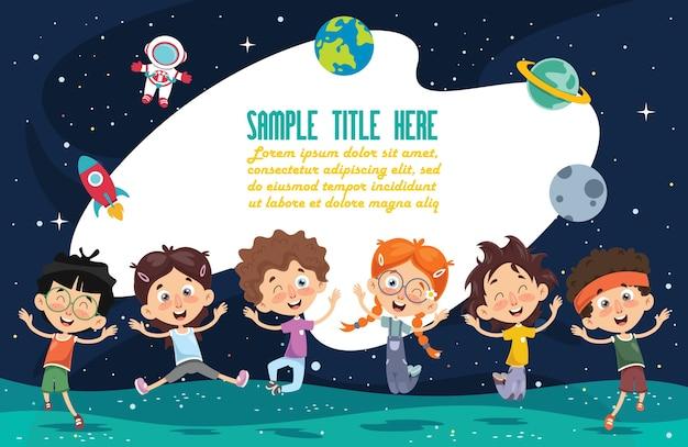Ilustração em vetor de crianças do espaço