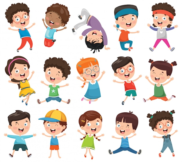 Ilustração em vetor de crianças dos desenhos animados
