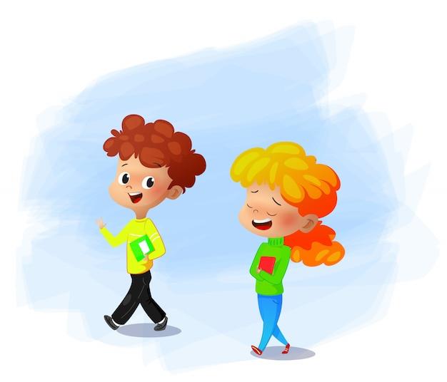 Ilustração em vetor de crianças em idade escolar