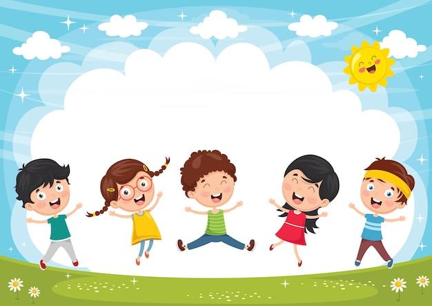Ilustração em vetor de crianças engraçadas brincando lá fora