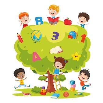 Ilustração em vetor de crianças estudando na árvore