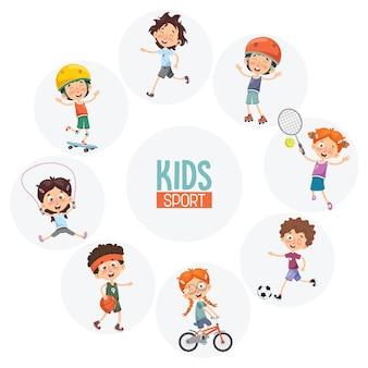 Ilustração em vetor de crianças fazendo esporte