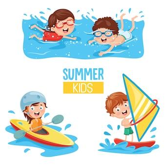 Ilustração em vetor de crianças fazendo esportes aquáticos