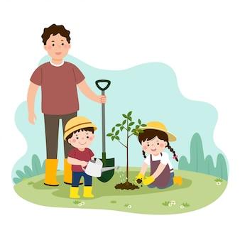 Ilustração em vetor de crianças felizes de um desenho animado ajudando seu pai a plantar a árvore jovem.