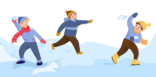 Ilustração em vetor de crianças felizes jogando bolas de neve juntos na neve. personagens de desenhos animados engraçados. cartões de natal