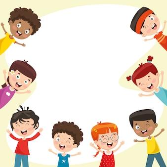 Ilustração em vetor de crianças felizes