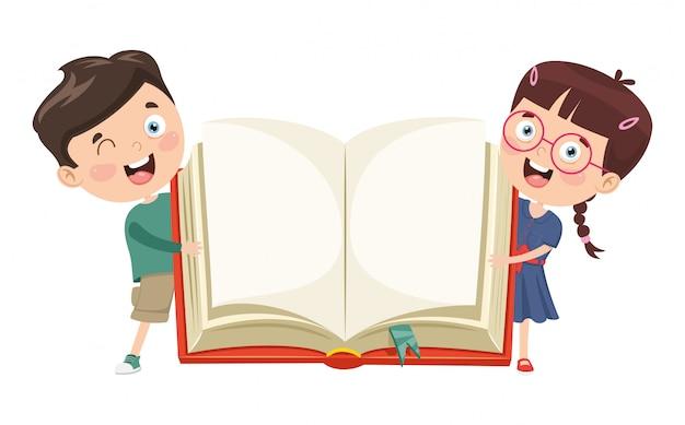 Ilustração em vetor de crianças mostrando o livro aberto