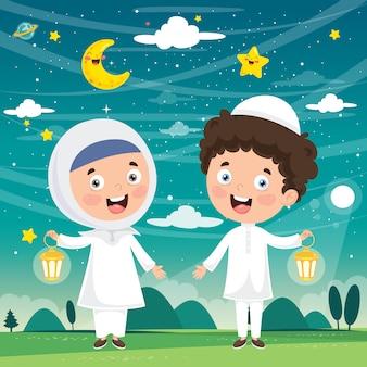 Ilustração em vetor de crianças muçulmanas celebrando o ramadã