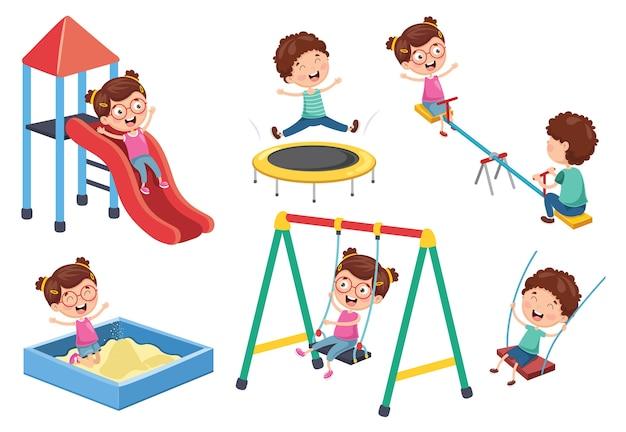 Ilustração em vetor de crianças no parque