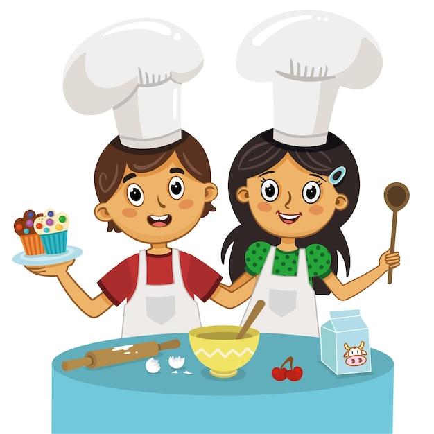 Ilustração em vetor de crianças preparando bolos de muffin