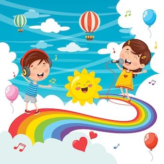 Ilustração em vetor de crianças pulando no arco-íris