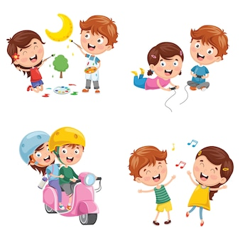 Ilustração em vetor de crianças se divertindo
