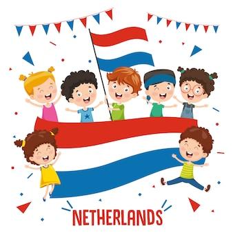 Ilustração em vetor de crianças segurando a bandeira da holanda