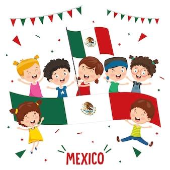 Ilustração em vetor de crianças segurando a bandeira do méxico