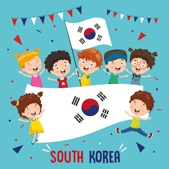 Ilustração em vetor de crianças segurando bandeira da coreia do sul