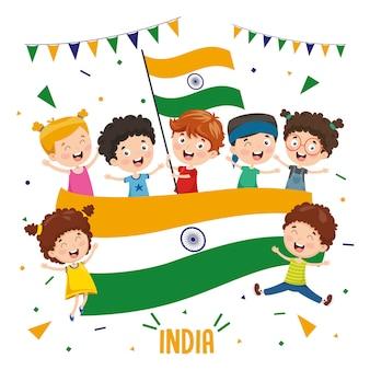 Ilustração em vetor de crianças segurando bandeira da índia