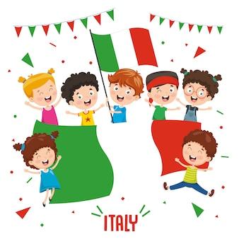 Ilustração em vetor de crianças segurando bandeira da itália