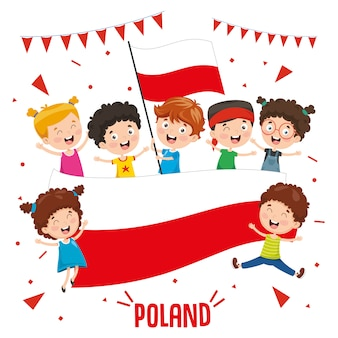 Ilustração em vetor de crianças segurando bandeira da polónia