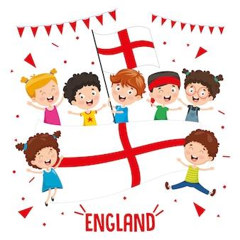 Ilustração em vetor de crianças segurando bandeira de inglaterra