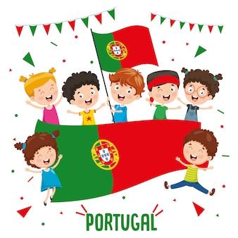 Ilustração em vetor de crianças segurando bandeira de portugal
