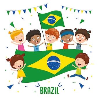 Ilustração em vetor de crianças segurando bandeira do brasil