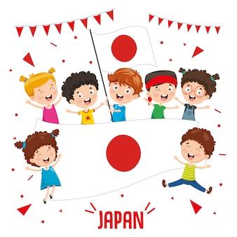 Ilustração em vetor de crianças segurando bandeira do japão