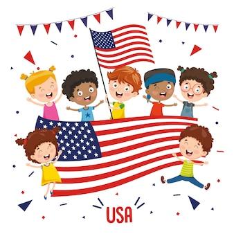 Ilustração em vetor de crianças segurando bandeira eua