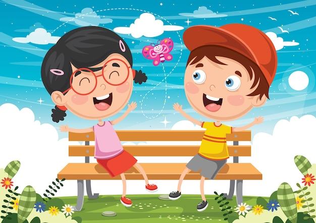 Ilustração em vetor de crianças sentadas no banco do parque