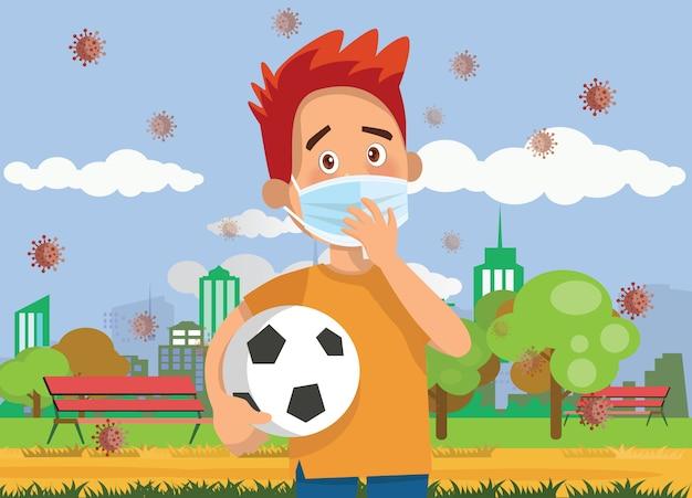 Ilustração em vetor de crianças usam uma máscara facial médica