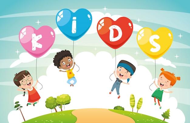 Ilustração em vetor de crianças voando com balões