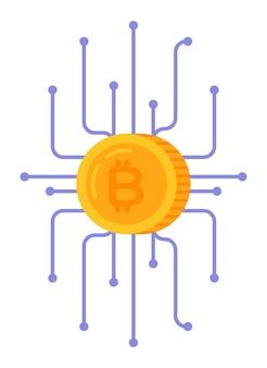 Ilustração em vetor de criptografia bitcoin e ganhos infográficos na internet