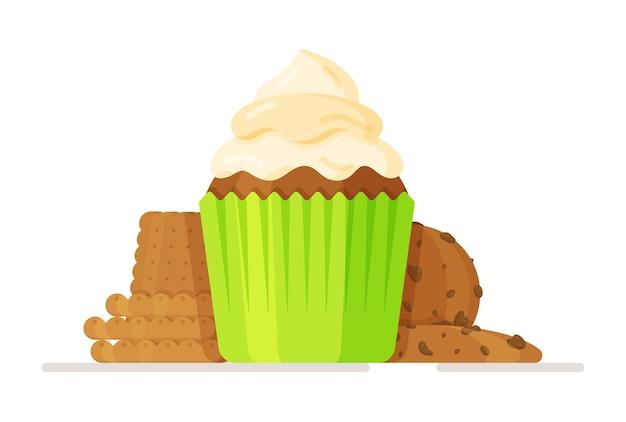 Ilustração em vetor de cupcake com tampa branca sobre branco