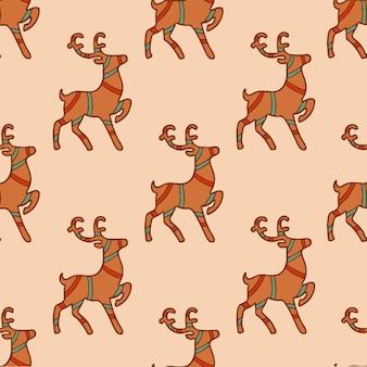 Ilustração em vetor de decoração de natal nas mídias sociais de fundo do padrão de renas do papai noel