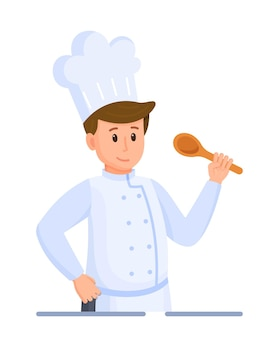 Ilustração em vetor de degustação do chef. chef em fundo branco. chef principal em um símbolo de tampa ou logotipo. o chefe de cozinha está cozinhando uma refeição em um restaurante.