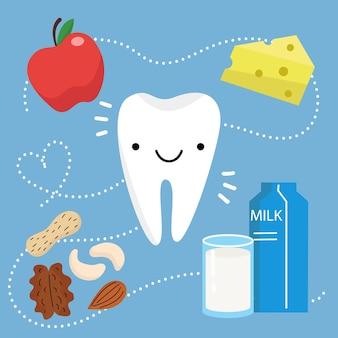 Ilustração em vetor de dente saudável feliz em design plano dentes e alimentos