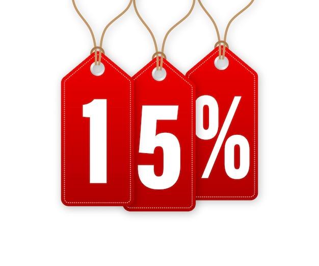 Ilustração em vetor de desconto tag -15 por cento fora. venda hangtags. ilustração vetorial.