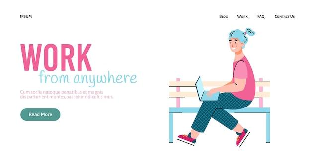 Ilustração em vetor de desenho animado de garota freelancer com laptop, um modelo de página de destino