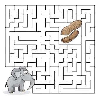 Ilustração em vetor de desenho animado de labirinto educacional ou jogo de labirinto para crianças pré-escolares com elefante fofo e amendoins