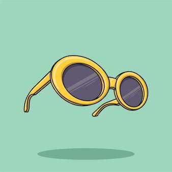 Ilustração em vetor de desenho animado de óculos de sol retrô amarelo dos anos 70