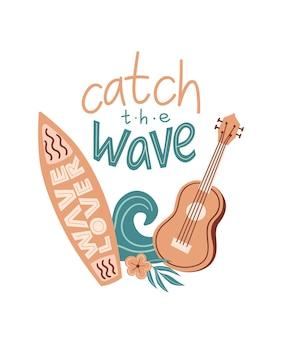 Ilustração em vetor de desenho animado de verão com cavaquinho flor e letras de onda de prancha de surf