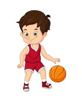 Ilustração em vetor de desenho animado menino bonito jogando basquete