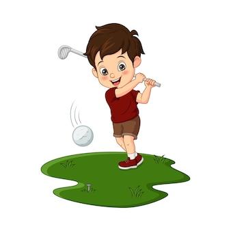 Ilustração em vetor de desenho animado menino bonito jogando golfe