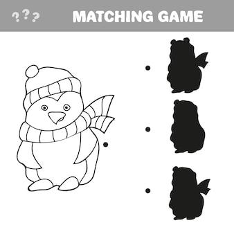 Ilustração em vetor de desenho animado pinguim - livro de colorir para crianças