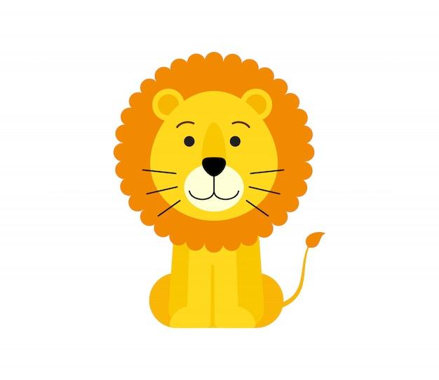 Ilustração em vetor de desenhos animados de leão fofo
