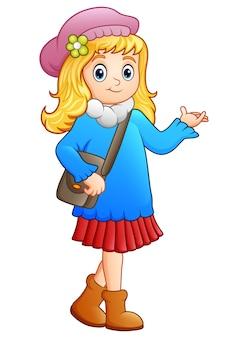 Ilustração em vetor de desenhos animados de menina cute escola