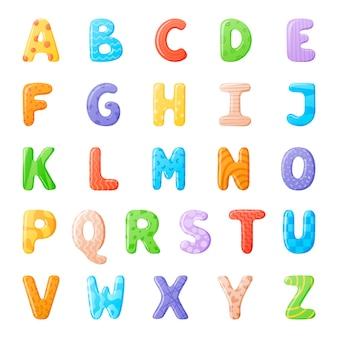 Ilustração em vetor de desenhos animados isolados de letras multicoloridas volumétricas do alfabeto inglês com padrões.