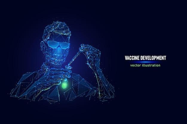 Ilustração em vetor de desenvolvimento de vacina de vírus wireframe digital de trabalhador médico teste nova vacina
